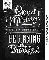 poszter, jó, morning., chalk.