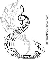 poszter, jelkép, jegyzet, zene, musical támasz