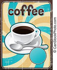 poszter, kávécserje, style., retro, csésze