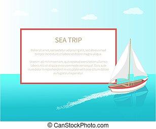 poszter, keret, modern, jacht, tenger, hajó, tengeri, elgáncsol