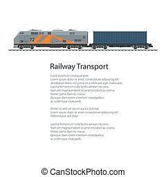 poszter, konténer, lokomotív, rakomány