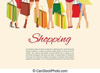 poszter, leány, combok, bevásárlás