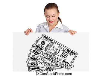 poszter, nő, dollár, birtok