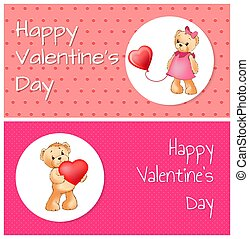poszter, noha, csinos, teddy tart, birtok, szív, balloon