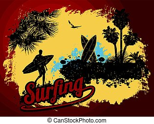 poszter, szörfözás, tervezés, nyomdai