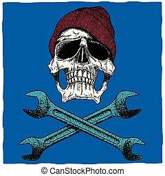 poszter, szerelő, koponya