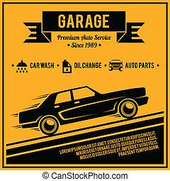 poszter, szolgáltatás, autó