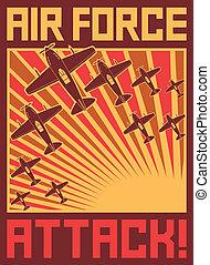 poszter, támad, erőltet, levegő