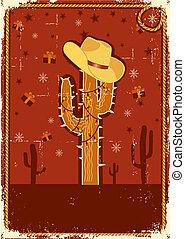poszter, text.vintage, karácsonyi üdvözlőlap, cowboy