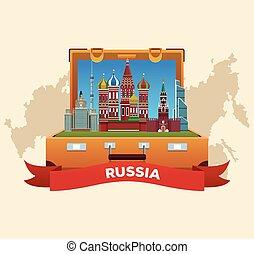poszter, utazás, oroszország