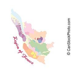 poszter, vidék, vektor, ábra, franciaország