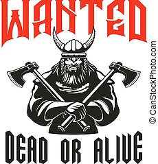 poszukiwany, zmarły, albo, żywy, wojownik, znak