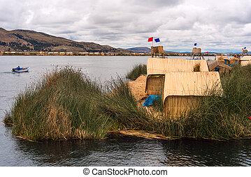 poszywany, dom, na, ruchome wyspy, na, jezioro titicaca, puno, peru, ameryka południowa