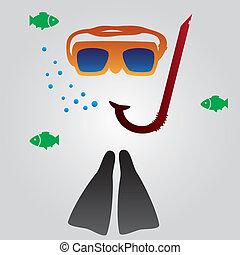 potápění, a, snorkeling vybavení, eps10