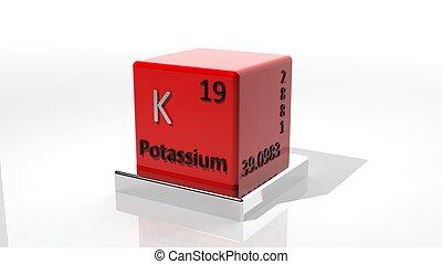 potássio, 3d, elemento, químico, periódico
