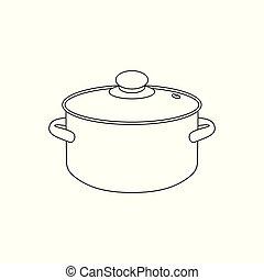 pot., ベクトル, 線である, イラスト