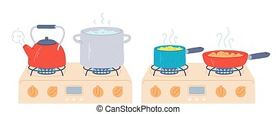 Pot and pan on stove. Preparing food and boiling water in saucepan and kettle with steam on kitchen gas stoves. Cooking on fire vector set