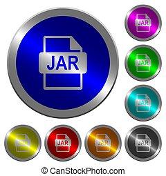 pot, bestand, formaat, lichtgevend, coin-like, ronde, kleur, knopen