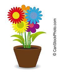 pot, bloemen, gekleurde, helder