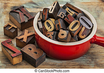 pot, bois,  type,  Letterpress