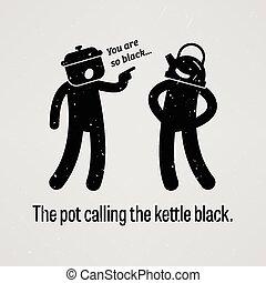 pot, bouilloire, noir, appeler