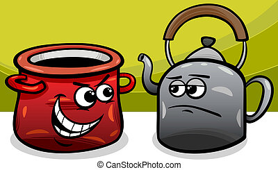 Cartoon Humor Concept Illustration of Pot Calling the Kettle Black Saying or Proverb