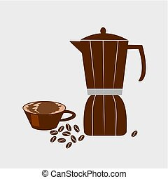 pot, chaud, vecteur, haricot, café, illustration., moka