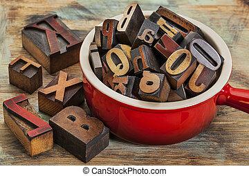 pot, de, letterpress, bois, type