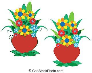 pot., fiori, vettore, illustrazione, colorito