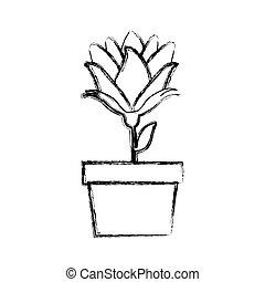 pot, fleur, silhouette, bourgeon, brouillé