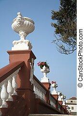 pot fleurs, balustrade
