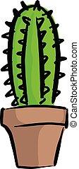 pot fleurs, lignes, isolé, illustration, arrière-plan., vecteur, noir, blanc, cactus