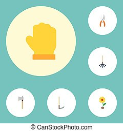 pot fleurs, plat, jardin, ensemble, jardinage, elements., latex, pot, icônes, inclut, symboles, aussi, vecteur, hache, objects., autre