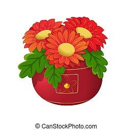 pot, fleurs, rouges