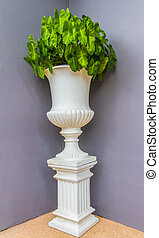 pot, fleurs, vert, fleur, vendange