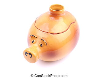 Pot for baking in the form of a pig on a white background
