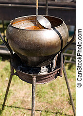 Pot for cooking in nature