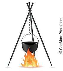pot for cooking over a fire vector illustration isolated on...
