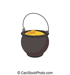 Pot full of gold coins cartoon icon