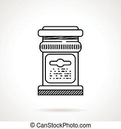 pot, glas, vector, black , lijn, pictogram
