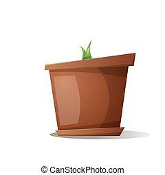 pot, grass - cartoon illustration.