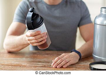 pot, haut, bouteille, secousse, fin, protéine, homme
