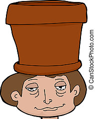 Pot Head - High male teenager with empty pot on head