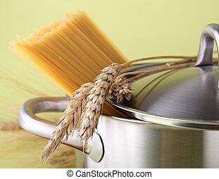pot, het koken, spaghetti