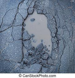 Pot Hole - Pot hole or pothole image of a broken cracked ...