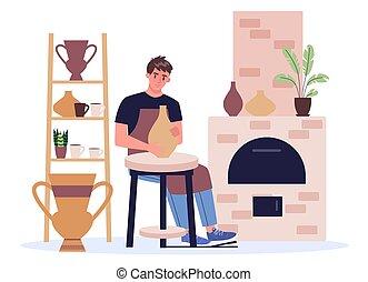 pot., homme, tablier, potier, confection, bol, céramique, ...