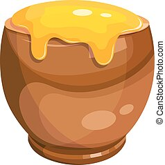 pot, honey., illustration, dessin animé, vecteur, argile, dessin