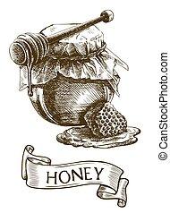 pot, houten honey scheplepel, stok, honingraat