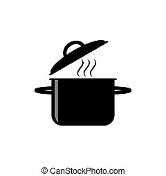 Pot icon isolated on white background. Vector illustration