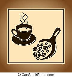 pot, koffie bonen, illustratie